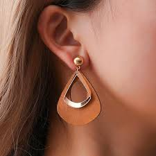Geometric <b>Hollow</b> Out <b>Vintage Wooden</b> Earrings - Fairyseason
