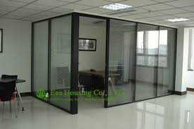 aluminum frame fixed partition for office with louvers double glazing aluminum office partitions