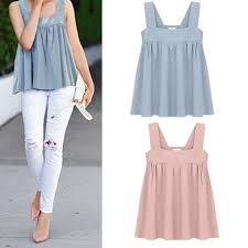 Women Strap Short Tops <b>Solid Color Backless</b> Loose Camisoles ...