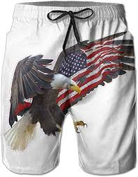 Mens American Flag Eagle Quick Dry Summer Beach <b>Surfing Board</b> ...