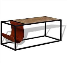 Festnight <b>Coffee Table</b> Tea Table with Genuine Leather Magazine ...