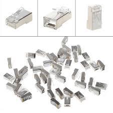 <b>10Pcs</b>/<b>Set</b> CAT6 8 Pin RJ45 Modular Crystal Plug 8P8C Shielded ...