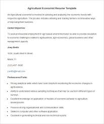 Agricultural Economist Resume Template Template net