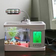 white mini desktop managing aquarium with led light clock office desk aquarium