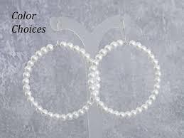 Large <b>Pearl</b> Dangle Hoop Earrings 2 Inch Diameter Sterling   Etsy
