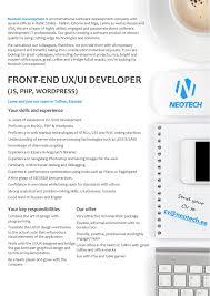 cv keskus t ouml ouml pakkumine front end ux ui developer js php wordpress toumloumlpakkumise number