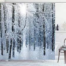 Ambesonne Winter Shower Curtain, Snow Covered ... - Amazon.com