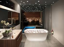 bathroom design lighting sky beautiful model squared bathtub varnished wood brown cupboard oval white sink flower beautiful bathroom lighting design