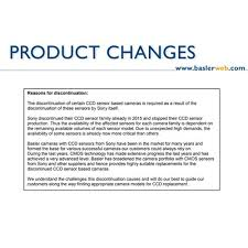 Announcement: Discontinuation of Certain <b>Sony's CCD</b> Sensor ...