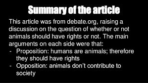 animal rights critical thinking      arguments for and against animal rights