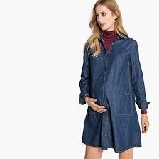 Denim maternity dress stonewashed <b>La Redoute</b> Collections | La ...