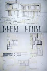 modern house drawing perspective floor plans design architecture student architecture drawing floor plans