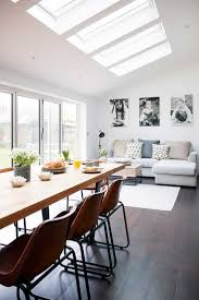 kitchen diner pop industrial kitchen extension dining living rooflights with sofa and ta