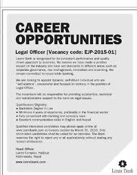 laxmi bank legal officer jobs in job description