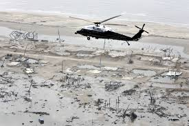 how hurricane katrina saved cameron parish hakai magazine passengers aboard the helicopter marine one including former us president george w bush survey the damage caused by hurricane rita in coastal cameron