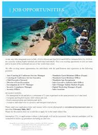 ayana resort and spa bali linkedin we currently have opportunities available in our company please send your cv to recruitment ayanaresort com no later than 28th of 2017