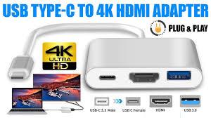 <b>USB 3.1 Type</b>-<b>C</b> to 4k HD <b>HDMI Adapter</b> With <b>USB</b> Port For ...