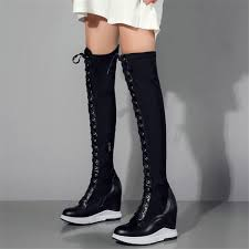 <b>NAYIDUYUN Thigh High</b> Boots Women Leather Lace Up Knee High ...