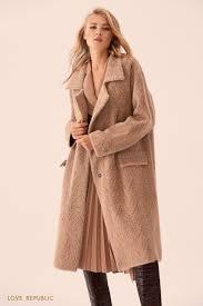Бежевое <b>однобортное пальто</b> без подклада 9359167127-64 ...