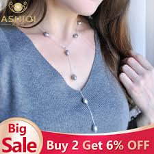 <b>ASHIQI 2019 Real 925</b> Sterling Silver Long Chain Necklace 9 10mm ...