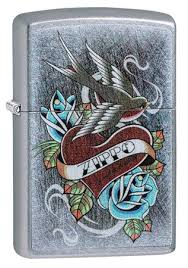 <b>Зажигалка Zippo Vintage</b> Tattoo с покрытием Street Chrome ...