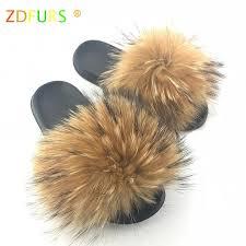 <b>ZDFURS* 2019</b> Newest Women Real Raccoon Fur Slippers Causal ...
