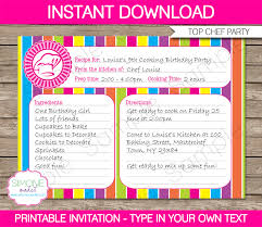 recipe card cooking party invitation template recipe card cooking party invitation birthday party editable diy theme template instant