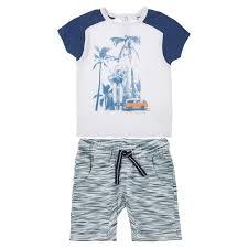 Комплект (футболка и <b>шорты</b>) <b>3POMMES</b> белый:синий Франция ...