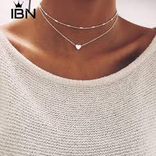 √COD**<b>Simple</b> Double Layers Chain Heart <b>Necklace Choker</b> ...