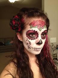 sugar skull makeup good use of sequins on cheeks nice rose