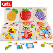QWZ <b>3D Wooden Puzzle Jigsaw</b> Toys For Children Wood 3d ...