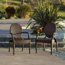 brown wicker outdoor furniture dresses: set of two brown faux wicker chairs