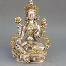 <b>8.86 inch/Tibet Silver Copper</b> Gilt Tibetan Buddhism Statue -- White ...