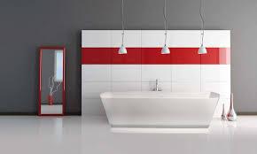 adorable master bathroom design with white acrylic soaking tub under three white glass pendant lights and bathroom vanity mirror pendant lights glass