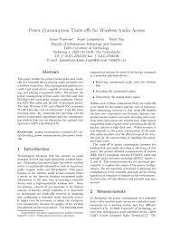 (PDF) <b>Power</b> Consumption Trade-offs for <b>Wireless Audio</b> Access