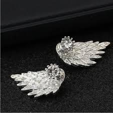 HN Brand-<b>1 pair</b>/Set <b>New</b> Beautiful <b>Hot</b> Angel wing Feather diamond ...