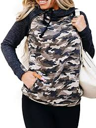 Women 1/4 Zip <b>Pullover Camouflage Sweatshirt Color Block</b> Shirts ...
