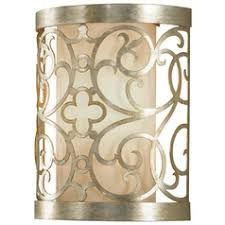 sconce wall light with white shade in silver leaf patina finish asian style lighting