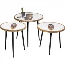 <b>Приставной столик</b> круглый белый с рисунком <b>African</b> Mask, 3 ...