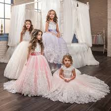 <b>Romantic</b> Lace <b>Puffy Lace</b> Bow Flower Girl Dress NEW For ...