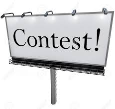 the word contest on a huge outdoord billboard sign or banner stock photo the word contest on a huge outdoord billboard sign or banner to advertise a raffle drawing or lottery that promises big prizes