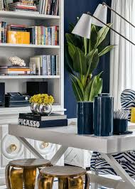 navy and gold office gallerie b bookshelf circle moulding cabinets gold brass ring pull desk blue white home office