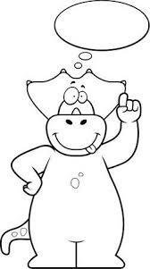 A Happy <b>Cartoon Dinosaur Thinking</b> And Smiling. Royalty Free ...