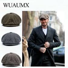Warm Tweed Octagonal Hat <b>Wuaumx Unisex</b> Autumn Winter Caps ...
