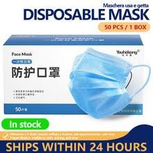 Mask <b>50pcs Disposable</b> 3 Ply Antivirus Face Mask Anti Coronavirus ...