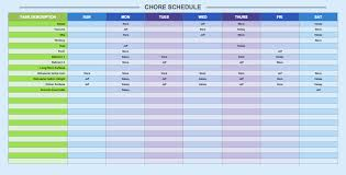 weekly schedule templates for excel smartsheet chore schedule template
