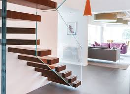 staircase stairs stair floating bespoke cantilever wall anchored bespoke glass staircase