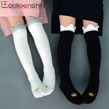 BalleenShiny Children Crown Print Knee High Socks Kids <b>Cute</b> ...