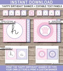 princess party banner template happy brithday bunting princess party banner template happy birthday bunting editable and printable diy template instant