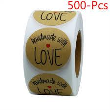 <b>1Inch Kraft</b> Handmade With Love <b>Stickers</b> Total 500 Adhesive ...